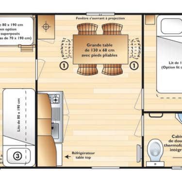 plan mobilhome Domino 5 pers.